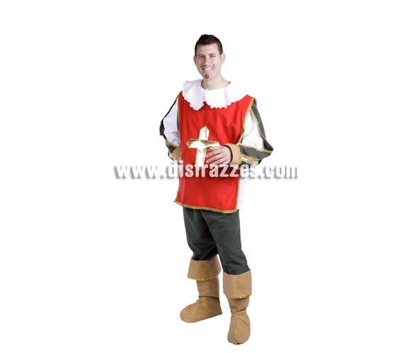 Disfraz de Espadachín adulto para Carnaval. Alta calidad. Hecho en España. Talla única 50. Incluye casaca, cuello, camisa, pantalón y cubrebotas. Disfraz de Dartañán. Disfraz de  Mosquetero Dartacan.
