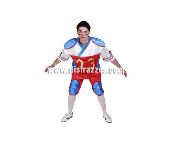 Disfraz de Jugador de Rugby adulto para Carnaval. Alta calidad. Hecho en España. Talla única 50. Incluye camisa y pantalón.