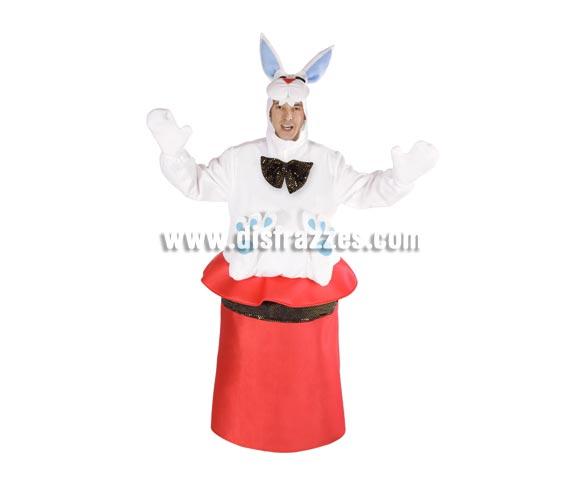 Disfraz de Chistera de Mago con conejo adulto para Carnaval. Alta calidad. Hecho en España. Talla única adultos. Incluye disfraz completo.