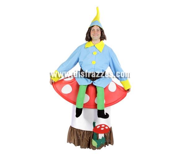 Disfraz de Duende sobre seta adulto para Carnaval. Alta calidad. Hecho en España. Talla única de adultos. Incluye disfraz completo y gorro. Disfraz de Enanito o Gnomo adulto.