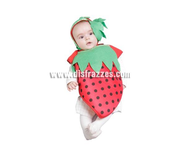Disfraz Babero Fresita bebé para Carnaval. Talla de 6 meses. Alta calidad. Hecho en España. Incluye babero y gorrito.