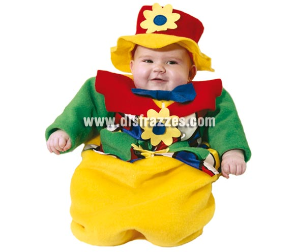 Disfraz Saquito Payaso o Payasito bebé para Carnaval. Talla de 6 meses. Alta calidad. Hecho en España. Incluye gorro y saquito.