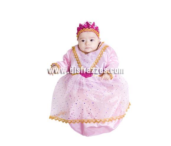 Disfraz Saquito de Princesa bebé para Carnaval. Talla de 6 meses. Alta calidad. Hecho en España. Incluye corona y saquito.