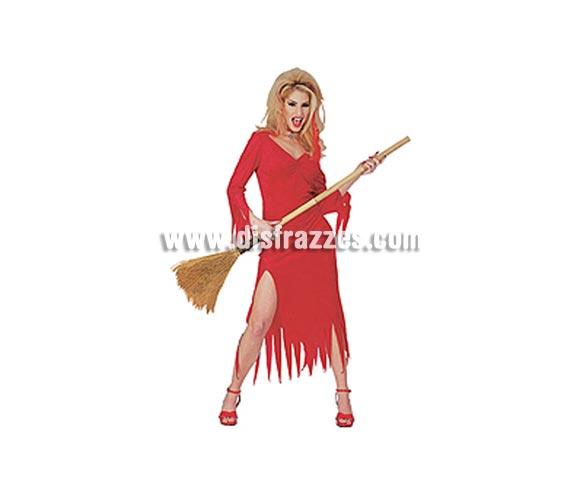 Disfraz de Diablesa Crimson Vixen adulta para Halloween. Talla estándar. Incluye vestido rojo. Escoba NO incluida, podrás ver escobas en la sección Complementos.