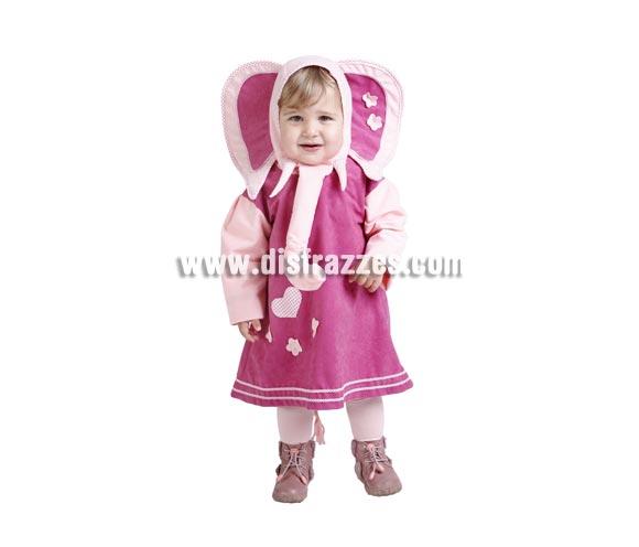 Disfraz de Elefantita bebé para Carnaval. Talla de 18 meses. Alta calidad. Hecho en España. Incluye vestido y cabecita de Elefantita.