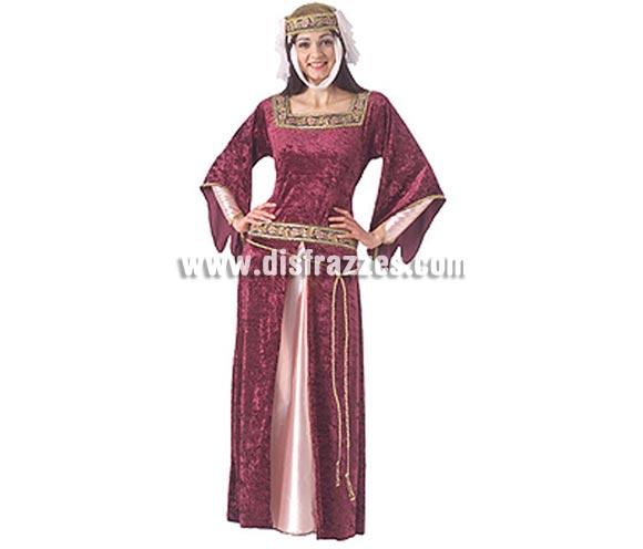 Disfraz de Reina Medieval adulta. Talla Universal de mujer 38/42. Incluye vestido de terciopelo y corona con velo.