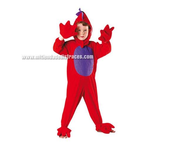 Disfraz de Dragón Rojo talla de 3 a 4 años. Incluye mono y guantes.