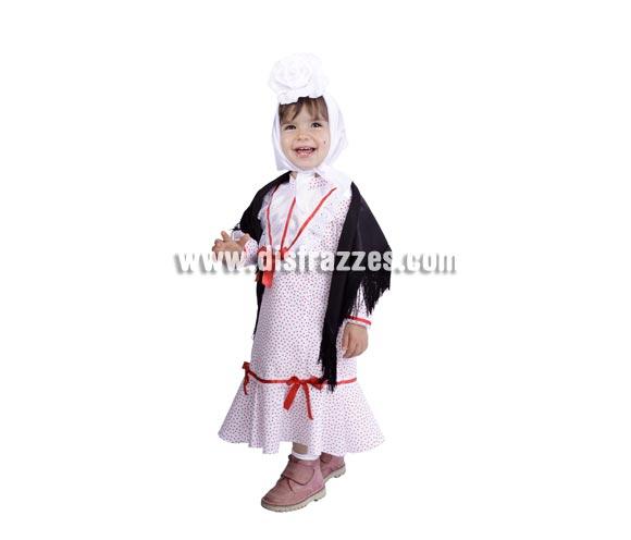 Disfraz de Madrileña bebé para la Feria de San Isidro. Talla de 18 meses. Alta calidad. Hecho en España. Incluye mantón, vestido y pañuelo. Flor NO incluida, podrás verla en la sección Complementos.