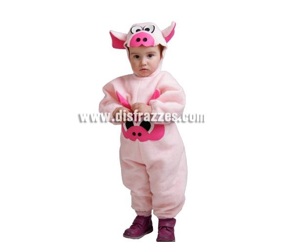 Disfraz barato de Cerdito bebé para Carnaval. Talla de 18 meses. Alta calidad. Hecho en España. Incluye mono con capucha.