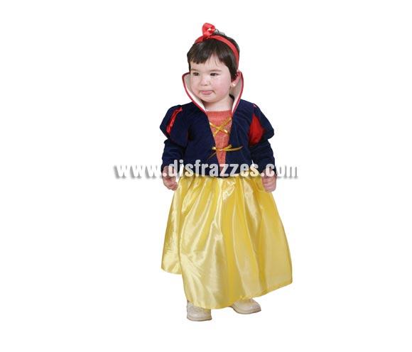 Disfraz barato de Blancanieves bebé para Carnaval o para regalar en Navidad. Talla de 18 meses. Alta calidad. Hecho en España.