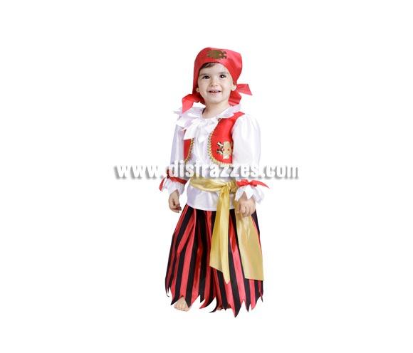 Disfraz de Pirata niña bebé para Carnaval. Talla de 18 meses. Alta calidad. Hecho en España. Incluye pañuelo, camisa, chaleco, cinturón y falda.