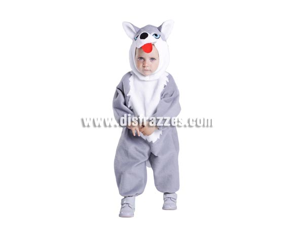 Disfraz de Husky bebé para Carnaval. Talla de 18 meses. Alta calidad. Hecho en España. Incluye mono y capucha con forma de Husky.