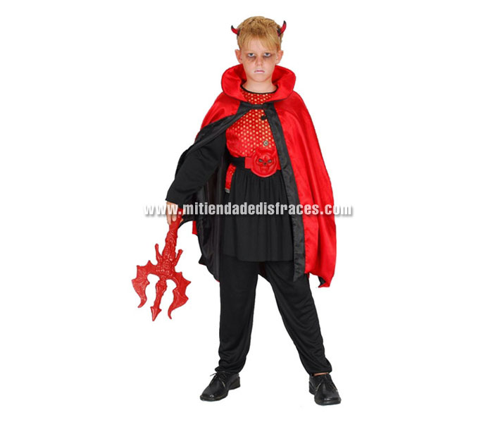 Disfraz de Demonio rojo/negro económico talla de 7 a 9 años. Incluye camisa, pantalón, capa, cinturón y cuernos. Tridente NO incluido, podrás verlo en la sección de Complementos.