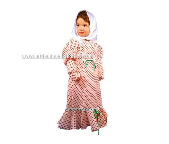 Disfraz de Madrileña para niñas de 3 a 4 años. Incluye vestido y pañuelo.