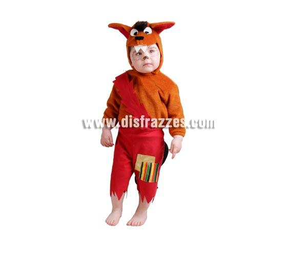 Disfraz barato de Lobito bebé para Carnaval. Talla de 18 meses. Alta calidad. Hecho en España. Incluye capucha, camisa y pantalón.