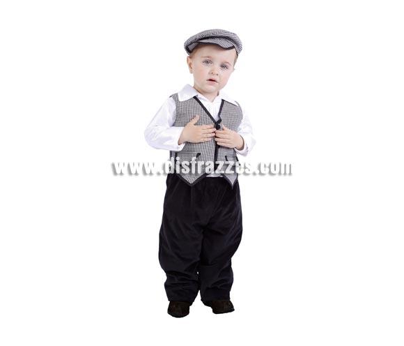 Disfraz de Chulapo bebé para la Feria de San Isidro. Talla de 18 meses. Alta calidad. Hecho en España. Incluye gorra, camisa, chaleco y pantalón.