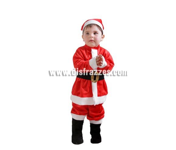 Disfraz barato de Papa Noel bebé para Navidad. Talla de 18 meses. Alta calidad. Hecho en España. Incluye gorro, casaca, cinturón, pantalón y cubrebotas.