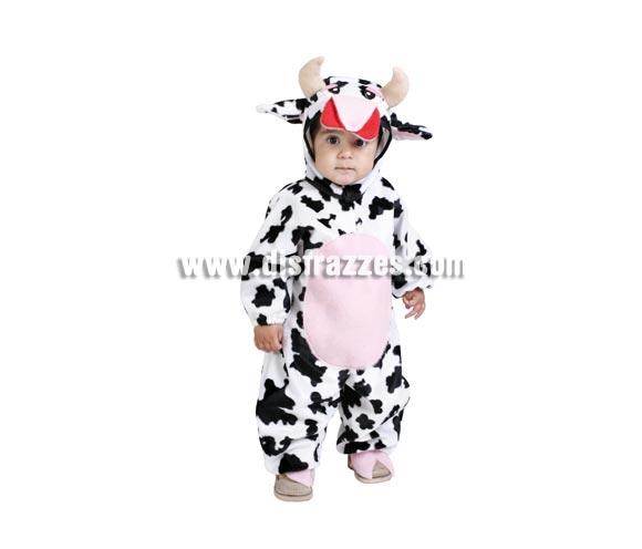 Disfraz barato de Vaquita bebé para Carnaval. Talla de 18 meses. Alta calidad. Hecho en España. Incluye mono y capucha con forma de vaca. Disfraz de Vaca.