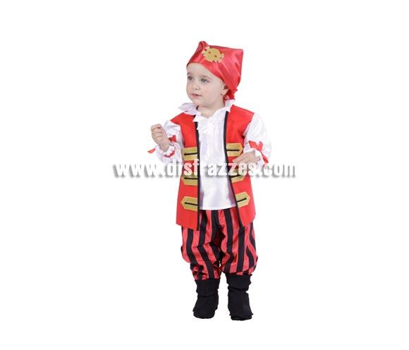 Disfraz de Pirata niño bebé para Carnaval. Talla de 18 meses. Alta calidad. Hecho en España. Incluye pañuelo, camisa, chaleco, pantalón y cubrebotas.