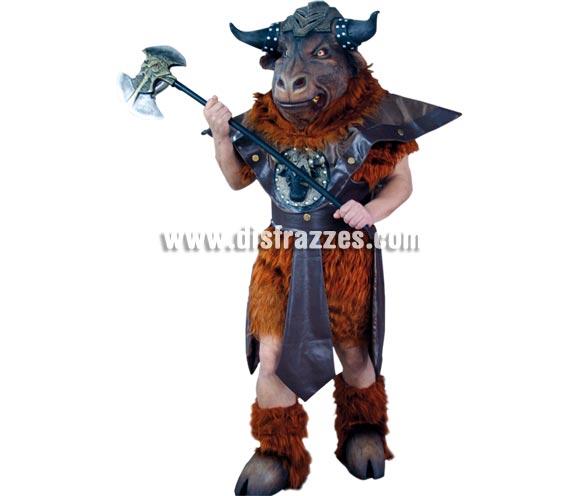 Disfraz de Minotauro adulto para Halloween. Alta calidad. Talla única 52/56. Incluye la máscara (de látex), el cuerpo, la falda y las pezuñas también de látex. Un disfraz muy espectacular.