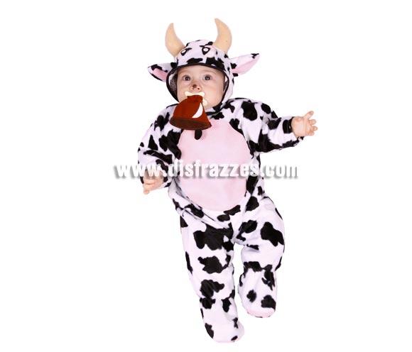 Pelele Vaquita bebé barato para Carnaval. Talla de 6 a 12 meses. Alta calidad. Hecho en España. Incluye pelele y capucha.