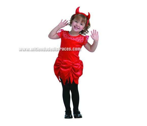 Disfraz de Diablesa Económico talla de 3 a 4 años. Incluye vestido y diadema con cuernos.