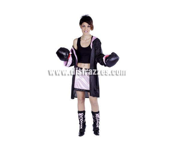 Disfraz de Boxeadora adulta para Carnaval. Alta calidad. Hecho en España. Talla única 40/44. Guantes NO incluidos. Incluye cubrebotas, pero NO las botas.