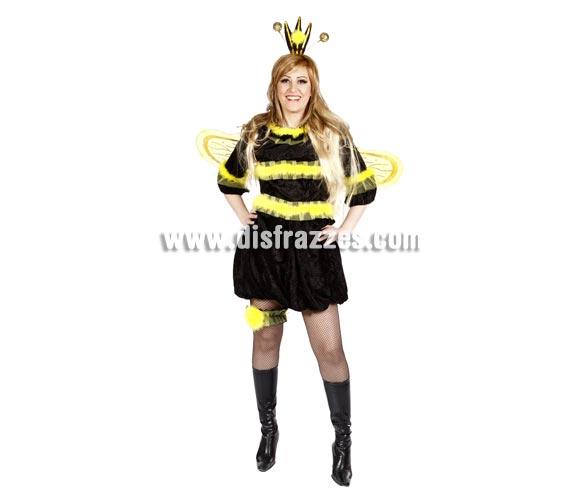Disfraz de Abeja Reina adulta para Carnaval. Alta calidad. Hecho en España. Talla única 40/44. Incluye falda, camisa, liga, alas y antenas. Medias y botas NO incluidas.