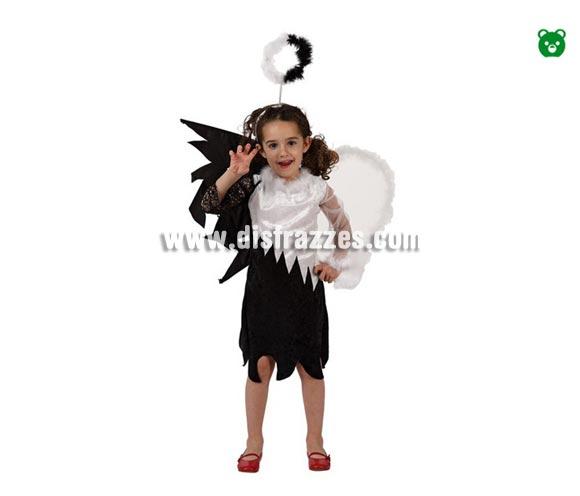 Disfraz de Angel blanco y negro infantil para Halloween barato. Talla de 7 a 9 años. Incluye vestido, alas y diadema.