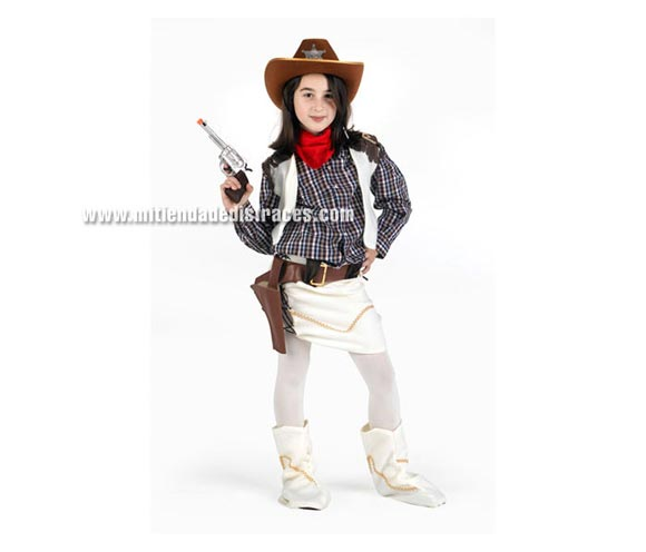 Disfraz de Vaquera niña talla de 3 a 4 años. Incluye chaleco, falda, sombrero y cinturón. Pistola NO incluida.