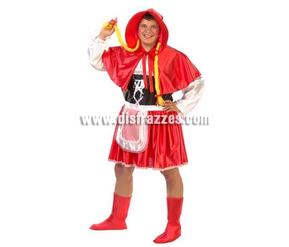 Disfraz de Caperucita adultos para Carnaval. Alta calidad. Hecho en España. Talla de hombre (50). Incluye capa con capucha y trenzas, vestido con delantal y cubrebotas.