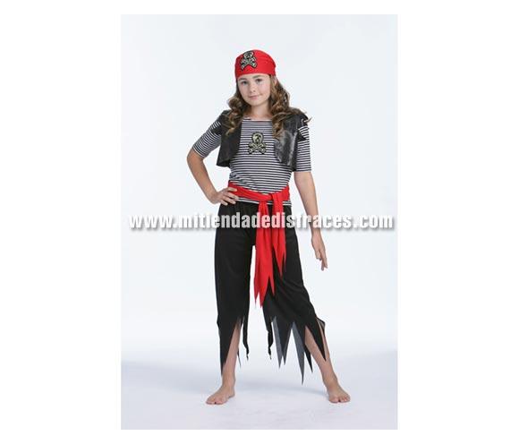 Disfraz de Pirata Calavera infantil. Talla de 5 a 6 años. Incluye pañuelo, camisa, chaleco, pantalón y fajín.