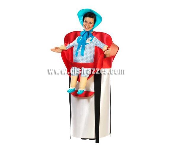 Disfraz de Sillita con Bebé adultos. Alta calidad. Hecho en España. Disponible en talla única de hombre (50) y de mujer (44). Incluye disfraz completo, tal y como se ve en la foto. Pueden ser colores surtidos, pero todos del mismo estilo, muy originales.