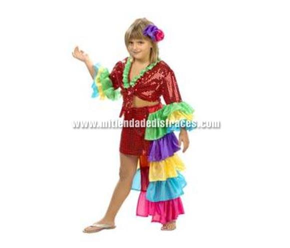 Disfraz de Brasileña o Caribeña niña. Disfraz de Rumbera. Alta calidad. Hecho en España. Disponible en varias tallas. Incluye falda con cola y camisa.