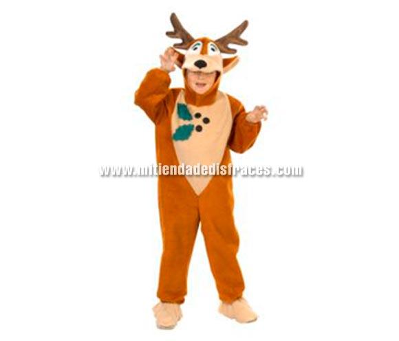 Disfraz de Reno infantil para Navidad. Alta calidad. Hecho en España. Disponible en varias tallas. Incluye capucha con forma de reno y mono con cubrepies.