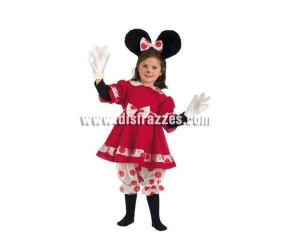 Disfraz de Ratita lunares infantil Deluxe para Carnaval. Para ir igual que Minnie. Disponible en varias tallas. Incluye pololos, vestido, diadema con orejas y lazo y guantes. Varias tallas.  Alta calidad. Hecho en España.