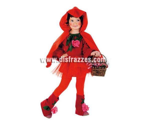Disfraz de Caperucita infantil Deluxe para Carnaval. Incluye falda, cubrebotas y vestido con capelina. Cesta NO incluida. Varias tallas. Alta calidad. Hecho en España.