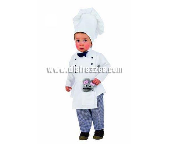Disfraz de Cocinero infantil Deluxe para Carnaval. Disponible en varias tallas. Incluye pantalón, gorro y camisa con delantal. Alta calidad. Hecho en España.
