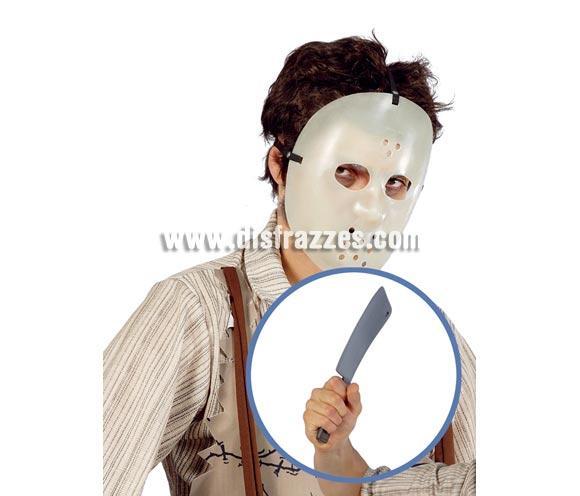Careta o Máscara de Jason de Viernes 13 con Cuchillo de plástico para Halloween.