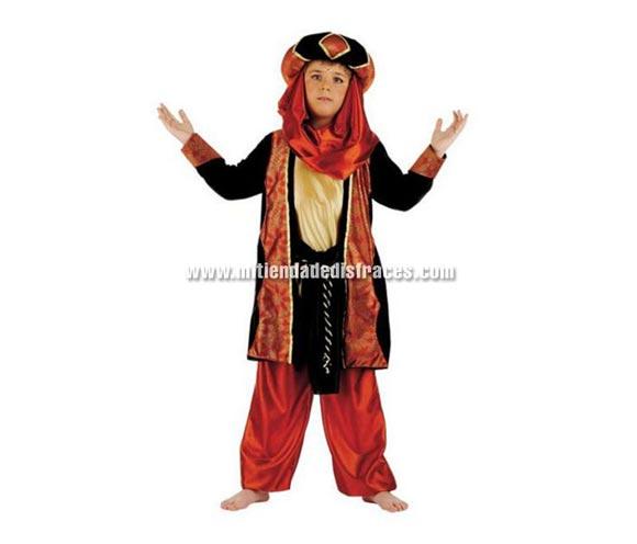 Disfraz de Tuareg Caldera infantil Deluxe. Hecho en España. Disponible en varias tallas. Incluye pantalón, turbante, chaqueta con camisa y cinturón. Disfraz de Paje para Cabalgatas de Reyes Magos.