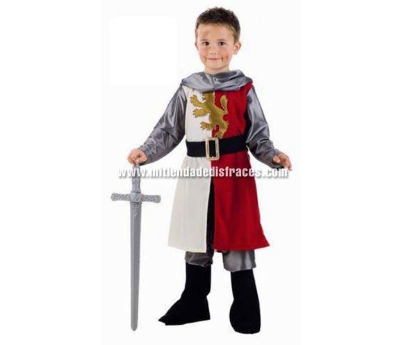 Disfraz de Cid Medieval infantil Deluxe. Hecho en España. Disponible en varias tallas. Incluye casaca con cinturón, pantalón con cubrebotas y capucha. Espada NO incluida, podrás verla en la sección Complementos.