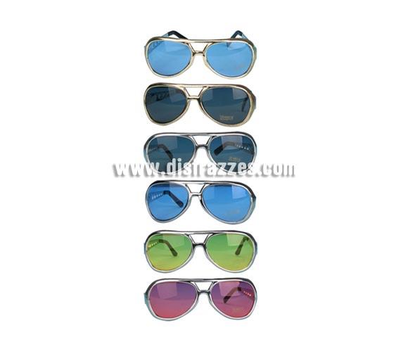 Gafas sol Rockeras. Seis colores surtidos. Se venden por separado. Precio por unidad. Gafas para el disfraz de Elvis.