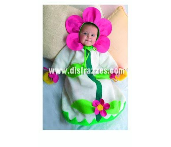 Disfraz Saquito Flor bebé para Carnaval. Talla de 6 a 9 meses. Alta calidad. Hecho en España. Incluye capucha y saquito.