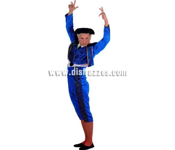 Disfraz de Torero azul adulto Deluxe. Alta calidad. Hecho en España. Disponible en varias tallas. Incluye pantalón, chaqueta con camisa y chaleco. Montera No incluida, podrás verla en la sección Complementos.