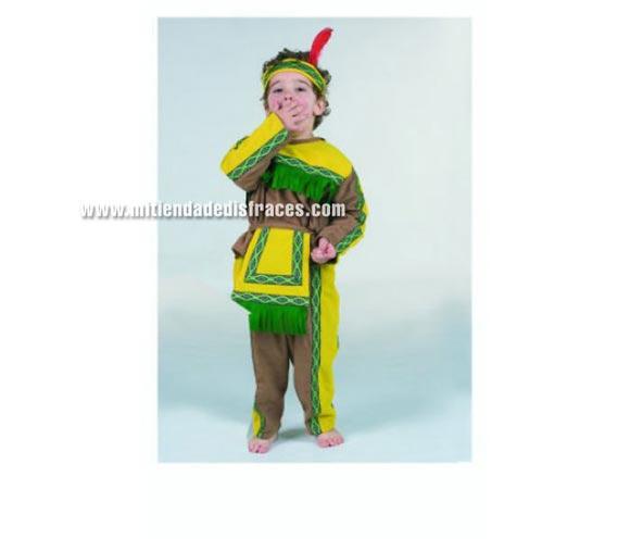 Disfraz de Indio infantil. Alta calidad. Hecho en España. Disponible en varias tallas. Incluye casaca, pantalón con mandil y cinta cabeza.