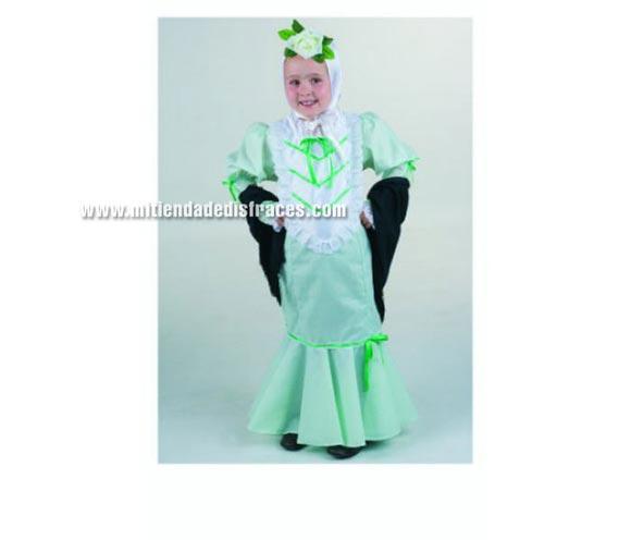 Disfraz de Madrileña infantil. Alta calidad. Hecho en España. Disponible en varias tallas. Incluye pañuelo, vestido y mantón.