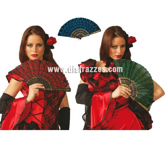 Abanico 24 cm. Colores surtidos. Precio por unidad, se venden por separado. Perfectos para los disfraces de Dama Española, Cabaret, Can Can y Charlestón.