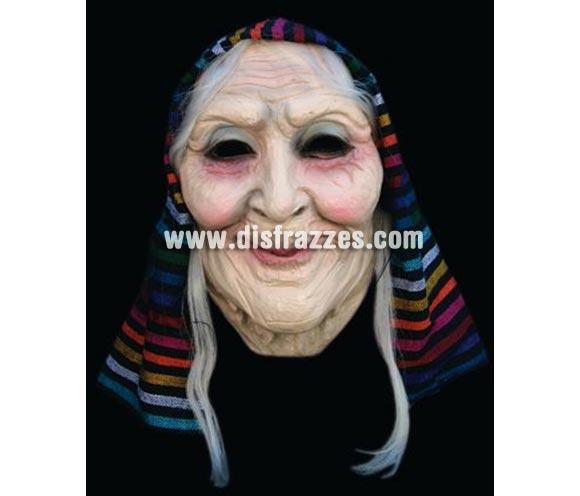Máscara de Anciana o Vieja con Pañuelo de látex para Halloween. Alta calidad. Fabricada artesanalmente por una empresa que hacen efectos especiales para Hollywood.