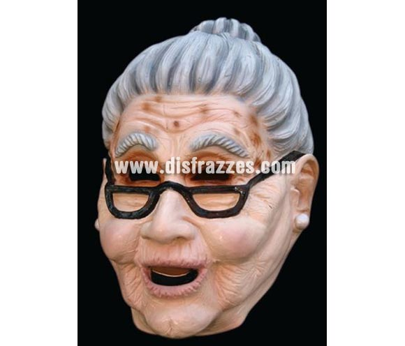 Máscara de Anciana con gafas de látex para Halloween. Alta calidad. Fabricada artesanalmente por una empresa que hacen efectos especiales para Hollywood.