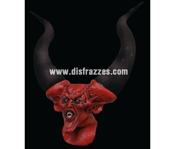 Máscara de Diablo de cuernos gigantes de látex para Halloween. Alta calidad. Fabricada artesanalmente por una empresa que hacen efectos especiales para Hollywood. Es espectacular, mide 90 x 70 cms.